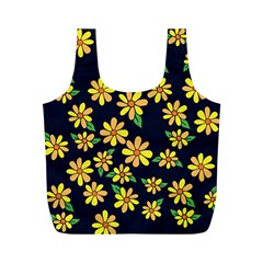 Daisy Flower Pattern For Summer Full Print Recycle Bags (m)  by BubbSnugg