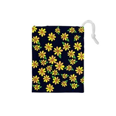 Daisy Flower Pattern For Summer Drawstring Pouches (small)