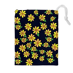 Daisy Flower Pattern For Summer Drawstring Pouches (extra Large)