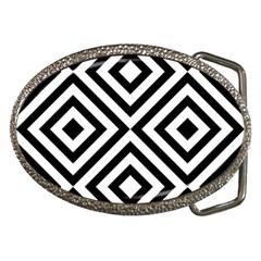Black And White Geometric Line Pattern Belt Buckles by artpics