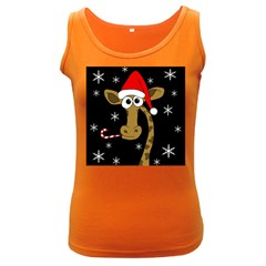 Christmas giraffe Women s Dark Tank Top by Valentinaart