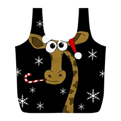 Christmas Giraffe Full Print Recycle Bags (l)  by Valentinaart