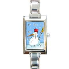 Snowman Rectangle Italian Charm Watch by Valentinaart