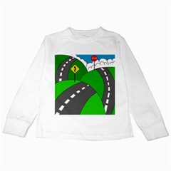 Hit The Road Kids Long Sleeve T Shirts by Valentinaart