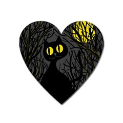 Black Cat   Halloween Heart Magnet by Valentinaart