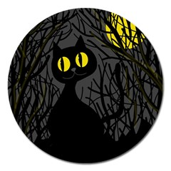 Black Cat   Halloween Magnet 5  (round) by Valentinaart