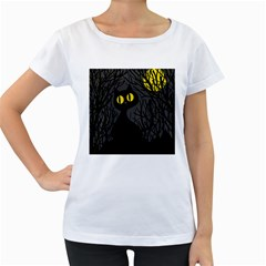 Black Cat   Halloween Women s Loose Fit T Shirt (white) by Valentinaart