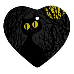 Black Cat   Halloween Heart Ornament (2 Sides) by Valentinaart
