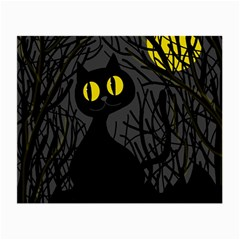 Black Cat   Halloween Small Glasses Cloth (2 Side) by Valentinaart
