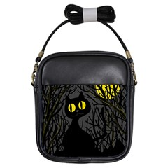 Black Cat   Halloween Girls Sling Bags by Valentinaart