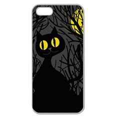 Black Cat   Halloween Apple Seamless Iphone 5 Case (clear) by Valentinaart