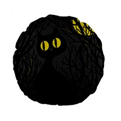 Black Cat   Halloween Standard 15  Premium Round Cushions by Valentinaart