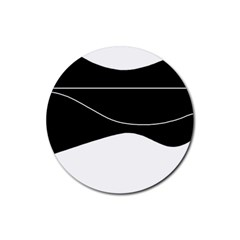 Black And White Rubber Round Coaster (4 Pack)  by Valentinaart