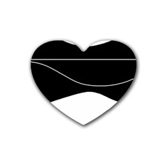 Black And White Rubber Coaster (heart)  by Valentinaart