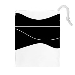 Black And White Drawstring Pouches (extra Large) by Valentinaart