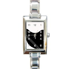 White And Black Abstraction Rectangle Italian Charm Watch by Valentinaart