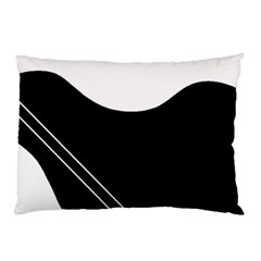 White And Black Abstraction Pillow Case by Valentinaart