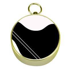 White And Black Abstraction Gold Compasses by Valentinaart