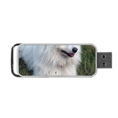 Samoyed Laying In Grass Portable Usb Flash (two Sides) by TailWags