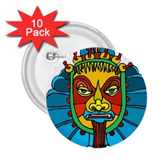 Abstract Mask Figure Traditional 2.25  Buttons (10 pack)  by Zeze