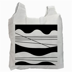 White And Black Waves Recycle Bag (two Side)  by Valentinaart