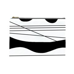 White And Black Waves Cosmetic Bag (large)  by Valentinaart