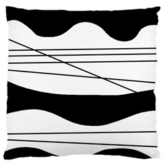 White And Black Waves Large Cushion Case (two Sides) by Valentinaart