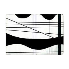 White And Black Waves Apple Ipad Mini Flip Case by Valentinaart