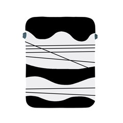 White And Black Waves Apple Ipad 2/3/4 Protective Soft Cases by Valentinaart