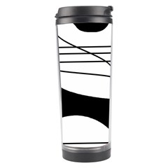 White And Black Waves Travel Tumbler by Valentinaart