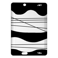 White and black waves Amazon Kindle Fire HD (2013) Hardshell Case by Valentinaart