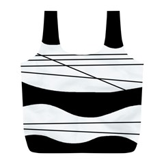 White And Black Waves Full Print Recycle Bags (l)  by Valentinaart