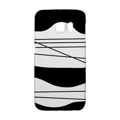 White And Black Waves Galaxy S6 Edge by Valentinaart
