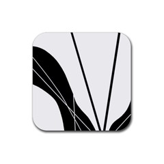 White And Black  Rubber Square Coaster (4 Pack)  by Valentinaart