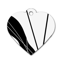 White And Black  Dog Tag Heart (one Side) by Valentinaart