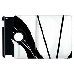 White And Black  Apple Ipad 2 Flip 360 Case by Valentinaart