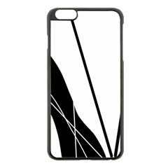 White And Black  Apple Iphone 6 Plus/6s Plus Black Enamel Case by Valentinaart