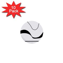 Waves   Black And White 1  Mini Buttons (10 Pack)  by Valentinaart