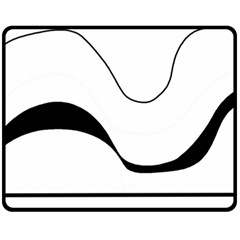 Waves   Black And White Fleece Blanket (medium)  by Valentinaart