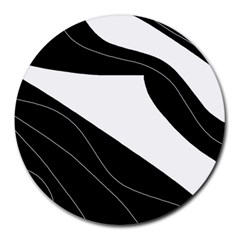 White And Black Decorative Design Round Mousepads by Valentinaart