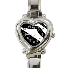 White And Black Decorative Design Heart Italian Charm Watch by Valentinaart