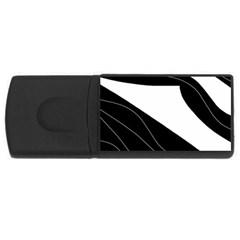 White And Black Decorative Design Usb Flash Drive Rectangular (4 Gb)  by Valentinaart