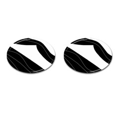 White And Black Decorative Design Cufflinks (oval) by Valentinaart