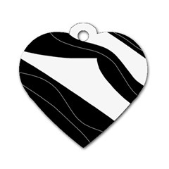 White And Black Decorative Design Dog Tag Heart (one Side) by Valentinaart