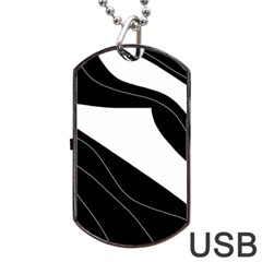 White and black decorative design Dog Tag USB Flash (One Side) by Valentinaart