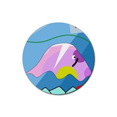 Under The Sea Rubber Coaster (round)  by Valentinaart