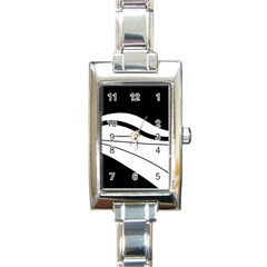 White And Black Harmony Rectangle Italian Charm Watch by Valentinaart