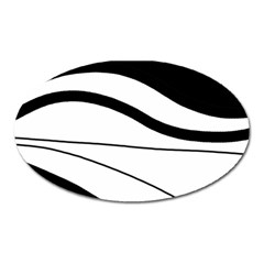 White And Black Harmony Oval Magnet by Valentinaart
