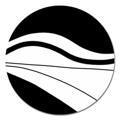 White And Black Harmony Magnet 5  (round) by Valentinaart