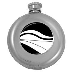 White And Black Harmony Round Hip Flask (5 Oz) by Valentinaart